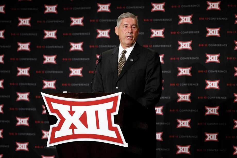 Commissioner Bob Bowlsby addresses attendees to Big 12 Conference Football Media Days Monday, July 20, 2015, in Dallas. (AP Photo/Tony Gutierrez) Photo: Tony Gutierrez, STF / AP