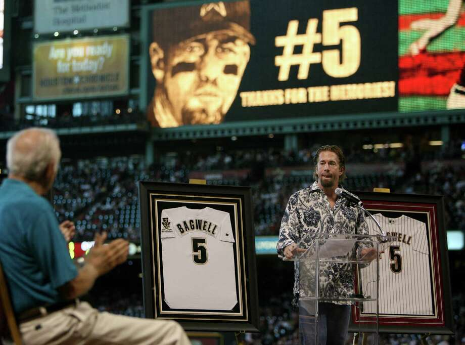 Jeff Bagwell had his uniform number retired by the Astros on Aug. 26, 2007, but he is 0-for-5 in balloting for the Hall of Fame. He was named on 55.7 percent of this year's ballots, with 75 percent required for election. Photo: Mayra Beltran, Staff / Houston Chronicle