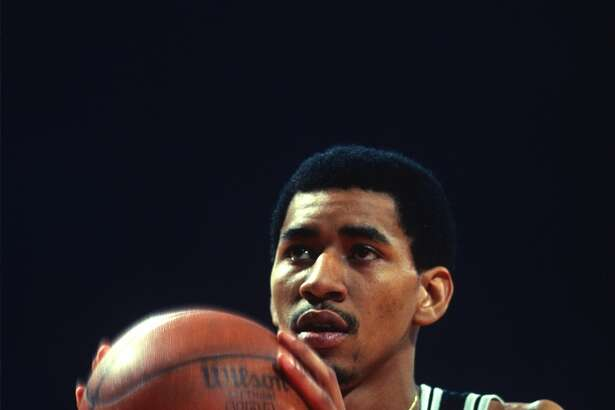 LANDOVER, MD - CIRCA 1978: George Gervin #44 of the San Antonio Spurs looks to shoot a free-throw against the Washington Bullets during an NBA basketball game circa 1978 at the Capital Centre in Landover, Maryland. Gervin played for the Spurs from 1974-85. (Photo by Focus on Sport/Getty Images)