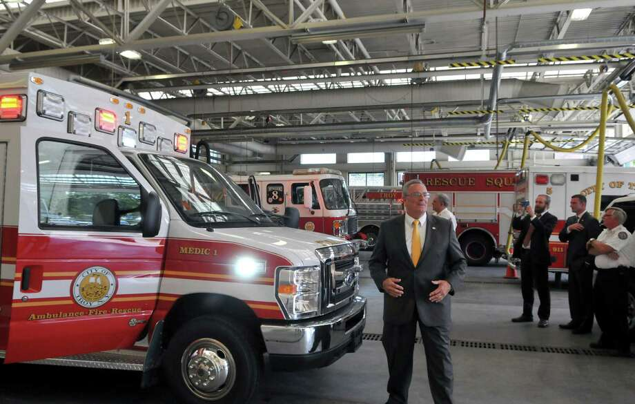 Mayor Lou Rosamilia views the new ambulance that will be later stationed at Station #1 in Lansingburgh on Monday, July 27, 2015, at the Central Fire Station in Troy, N.Y. (Phoebe Sheehan/Special to The Times Union) Photo: PS / 00032770A