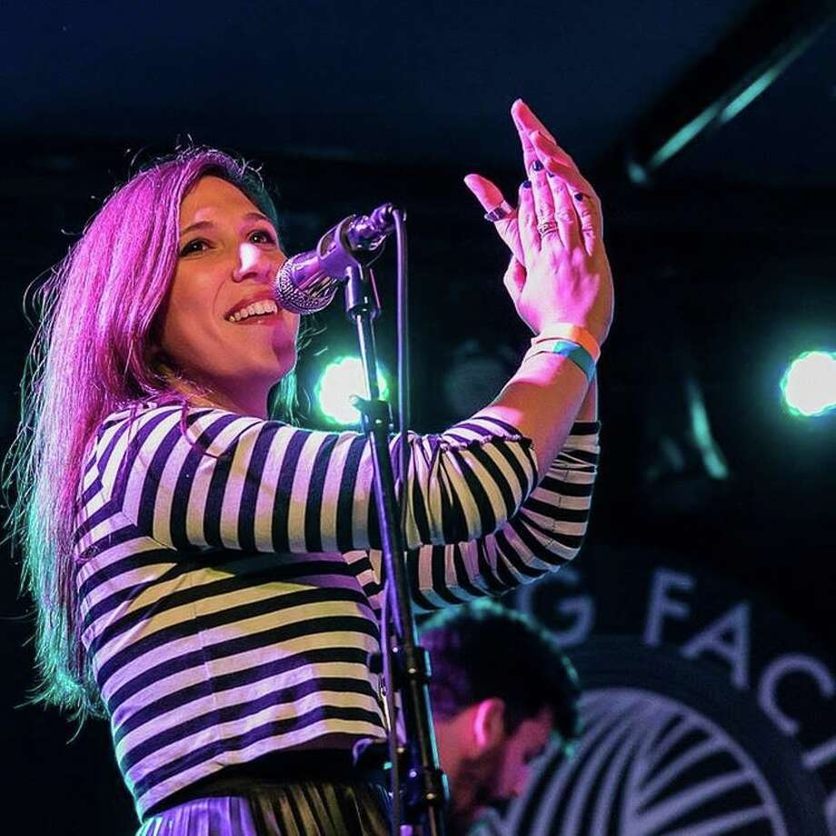 "Stamford native Darah ""Dee Dee"" Golub singing with her band at the Knitting Factory in New York City. The Parlour Tricks are coming to Stamford for Jazz-Up July Wednesday, when they open for The Commodores. Photo: Contributed / Parlour Tricks / Connecticut Post"