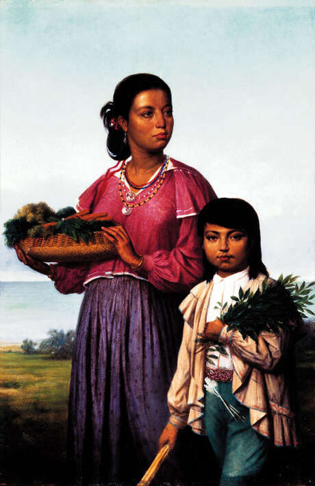 Portrait of two Chitimacha Indians, by François Bernard, 1870.