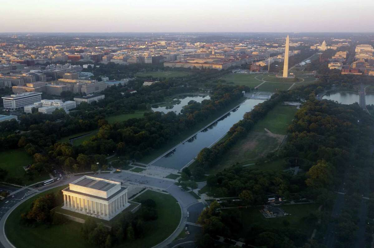 Washington, DC: The nation's capital comes in at 2nd most liberal large city in the U.S. with a score of -0.93 on the study's scale. AFP PHOTO / Saul LOEB