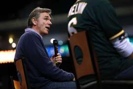 Oakland Athletics' General Manager Billy Beane during a Q&A session during Fan Fest at Oracle Arena in Oakland, Calif. on Sunday, February 8, 2015.