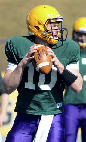 UAlbany quarterback Shane Sweeney at football practice on Thursday, April 2, 2015, at Bob Ford Field in Albany, N.Y. (Cindy Schultz / Times Union) Photo: Cindy Schultz / 00031254A