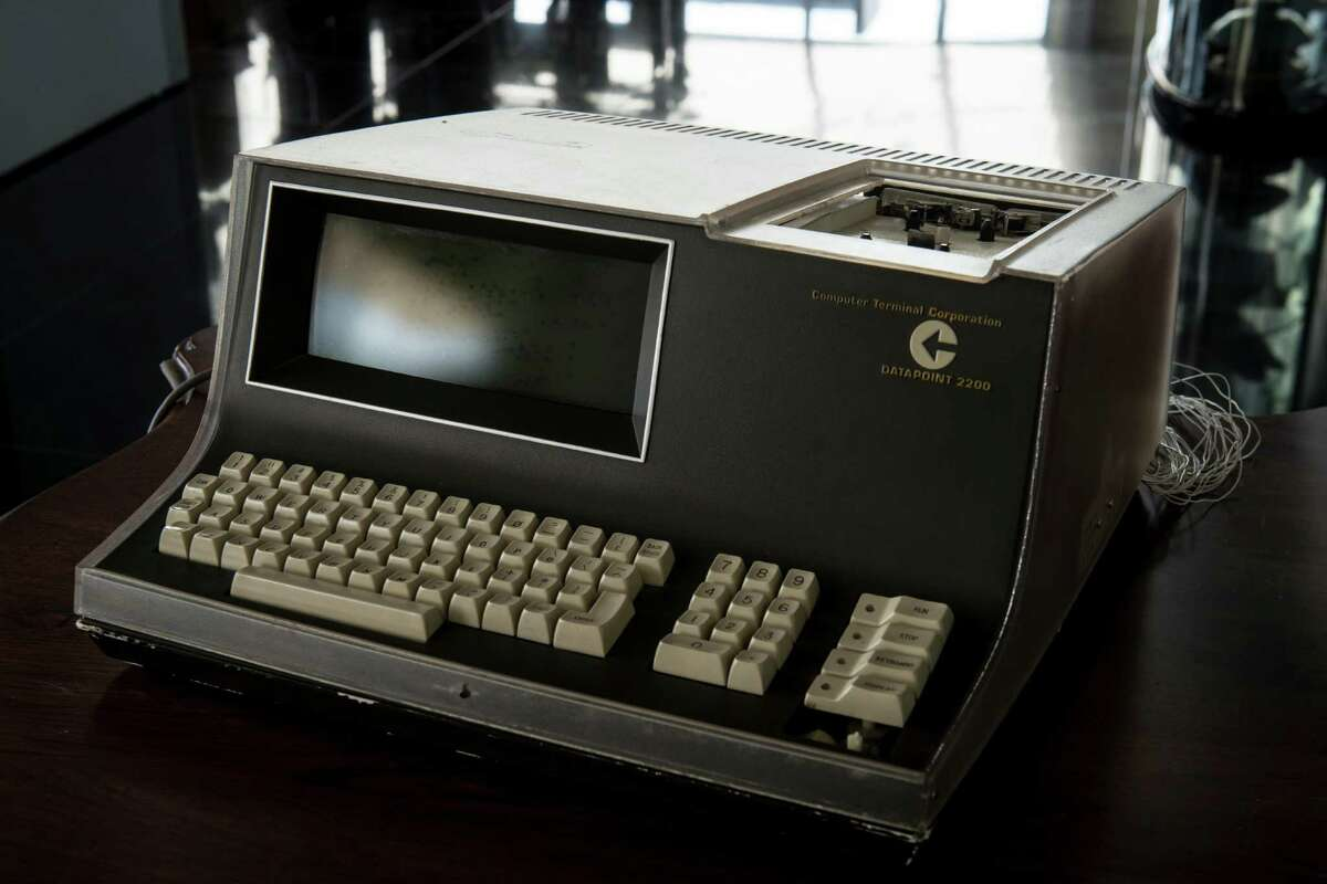 """This is one of the five prototypes of Computer Terminal Corporation's """"Datapoint 2200"""" desktop """"intelligent terminal"""", a device now known as a personal computer. It is part of the collection of tech artifacts kept by San Antonio inventor David Monroe. ."""