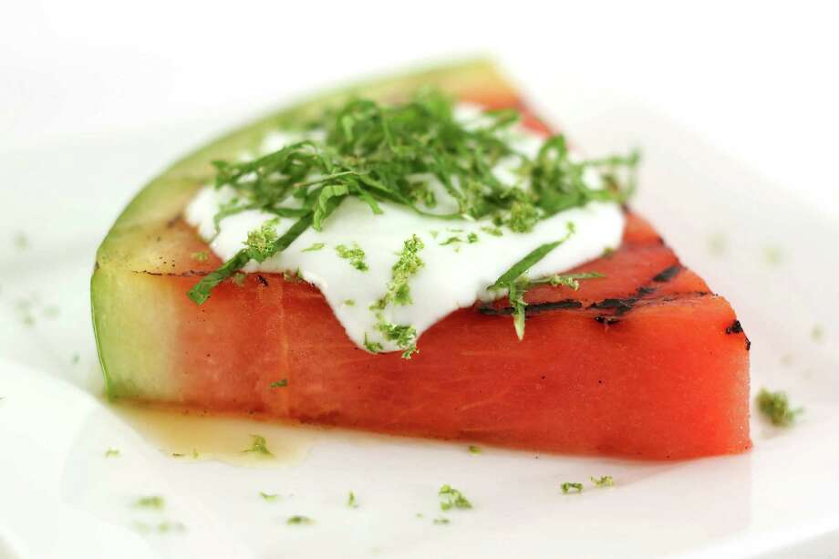 Grilled watermelon with lime, mint honey, and yogurt Photo: Kirk McKoy /TNS / Los Angeles Times