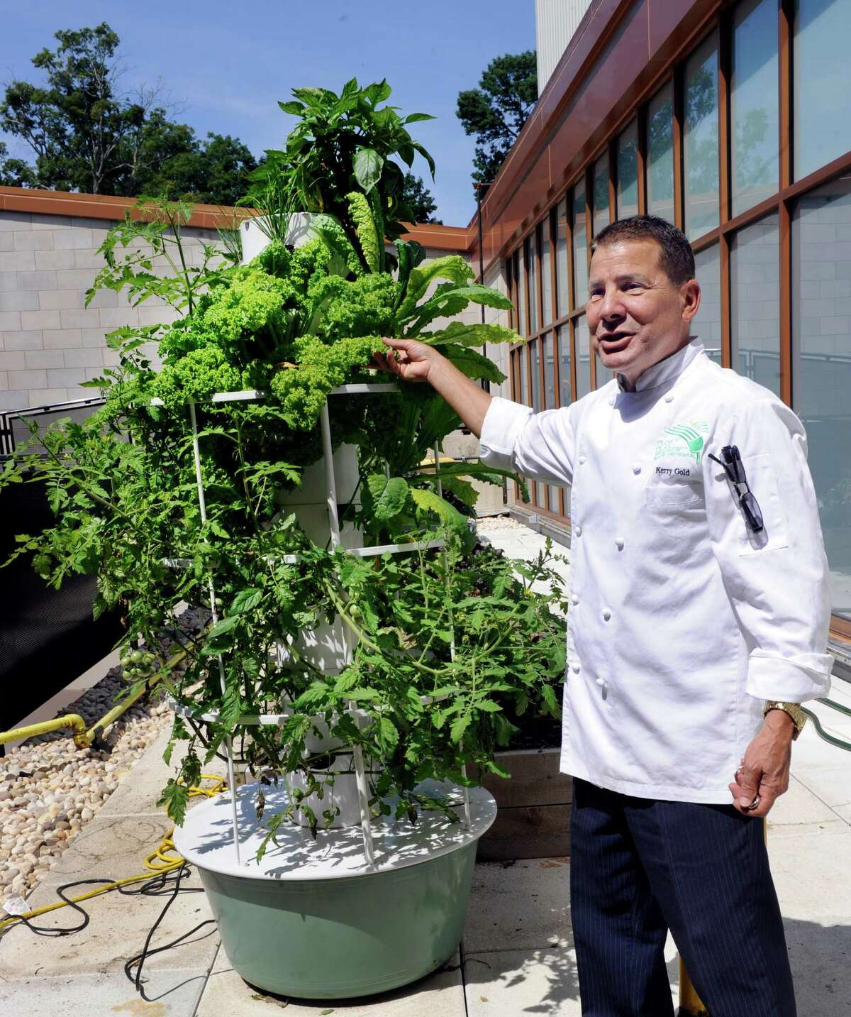 Kerry Gold, head of dining services and chef for New Milford Hospital, stands next to an aeroponic tower, one of several in a rooftop garden at the hospital on Tuesday.