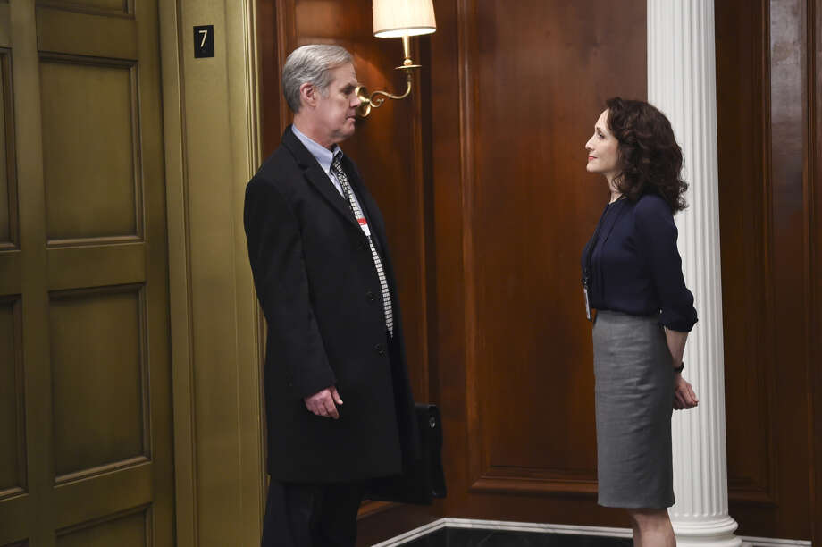 "Roxbury resident Jack Gilpin plays Elliot Klein in a scene from CBS television's ""Madam Secretary,"" with actress Bebe Neuwirth as Nadine Tolliver. Photo: CBS Photo Archive / CBS Via Getty Images / 2015 CBS Photo Archive"