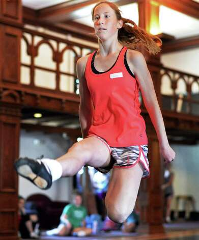 Dance student Brittany Babbington, 16, of Annapolis, Maryland, performs during a class at Camp Rince Ceol Irish Dance Camp at Union College Tuesday July 28, 2015 in Schenectady, NY.  (John Carl D'Annibale / Times Union) Photo: John Carl D'Annibale / 00032741A