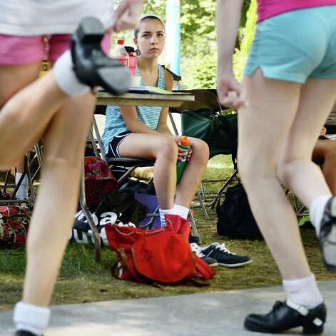 Claire Kennedy, center, 13 of Hingham, Mass., watches fellow students during Camp Rince Ceol Irish Dance Camp at Union College Tuesday July 28, 2015 in Schenectady, NY.  (John Carl D'Annibale / Times Union) Photo: John Carl D'Annibale / 00032741A