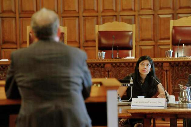 Devika Kewalramani, a member of the Commission on Statewide Attorney Discipline, asks a question during a public hearing of the commission, held at the New York State Court of Appeals on Tuesday, July 28, 2015, in Albany, N.Y.   (Paul Buckowski / Times Union) Photo: PAUL BUCKOWSKI, Albany Times Union