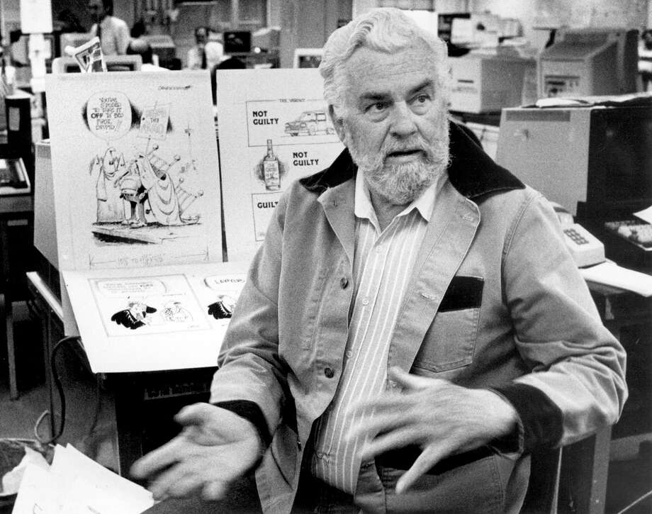 Bob Dale,former San Antonio Express-News artist, editorial cartoonist. Bob Dale relating stories about his former working days at the San Antonio Express-News on January 29, 1993. Photo: Tom Reel /San Antonio Express-News / San Antonio Express-News