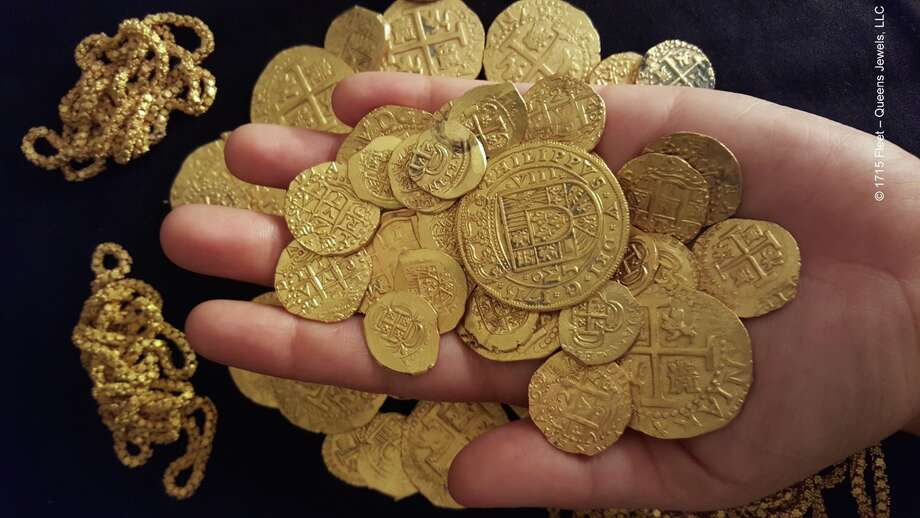 "Here are other rare coin finds:The treasure-hunting Schmitt family found 51 gold coins — including a rare 1715 ""royal"" intended for the king of Spain — and a 40-foot gold chain. Photo: 1715 Fleet - Queens Jewels, LLC"