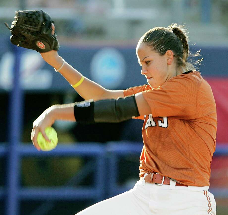 Texas' Cat Osterman (8) pitches against Arizona during a game in the NCAA softball championships in Oklahoma City, Friday, June 2, 2006. Arizona won 2-0. Photo: Nate Billings /The Oklahoman / THE OKLAHOMAN