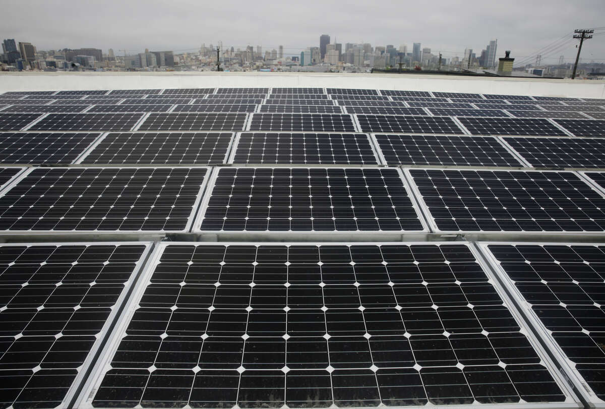 An array of 168 solar panels has been installed on the roof of Downtown High School in Potrero Hill at a cost of $375,000.