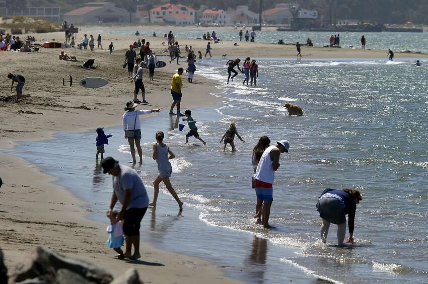 Beach combers found the surf to be very pleasant as dozens played in the bay waters Tuesday July 28, 2015. Very warm weather for San Francisco, Calif. brought a crowd out to East Beach in the Presidio.