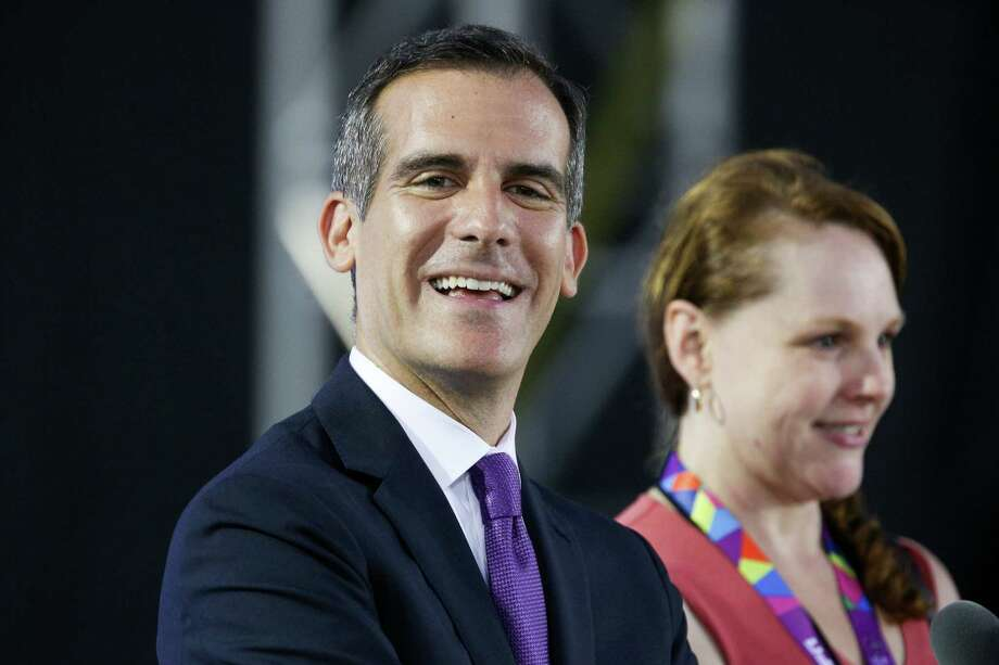 Los Angeles Mayor Eric Garcetti speaks at the Opening Ceremony of the 2015 Special Olympics World Games at Los Angeles Memorial Coliseum on Saturday, July 25, 2015, in Los Angeles. (Photo by Rich Fury/Invision/AP) Photo: Rich Fury / Associated Press / Invision