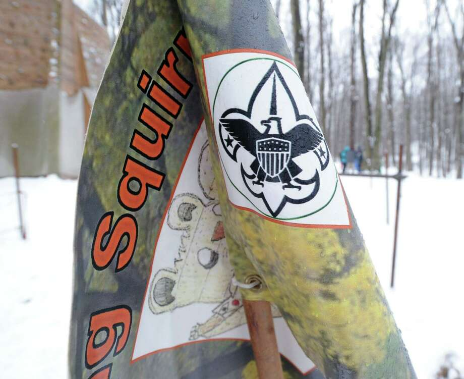 The flag of Boy Scout Troop 10 of Cos Cob attached to their Klondike sled during the annual Greenwich Boy Scouts Klondike Derby at the Ernest Thompson Seton Reservation Jan. 24, 2015. Photo: Bob Luckey / Bob Luckey