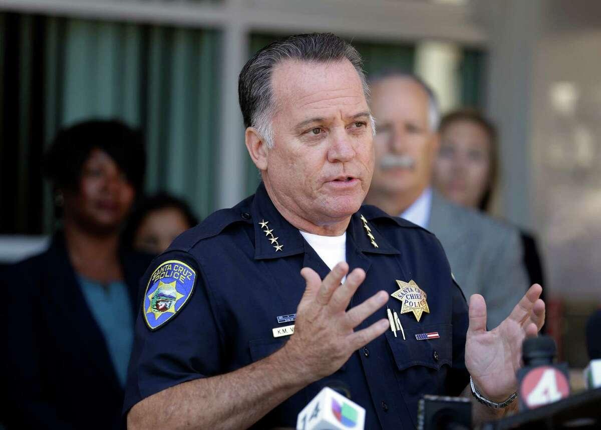 FILE - Santa Cruz Police Chief Kevin Vogel gestures during a news conference, Tuesday, July 28, 2015, in Santa Cruz, Calif.