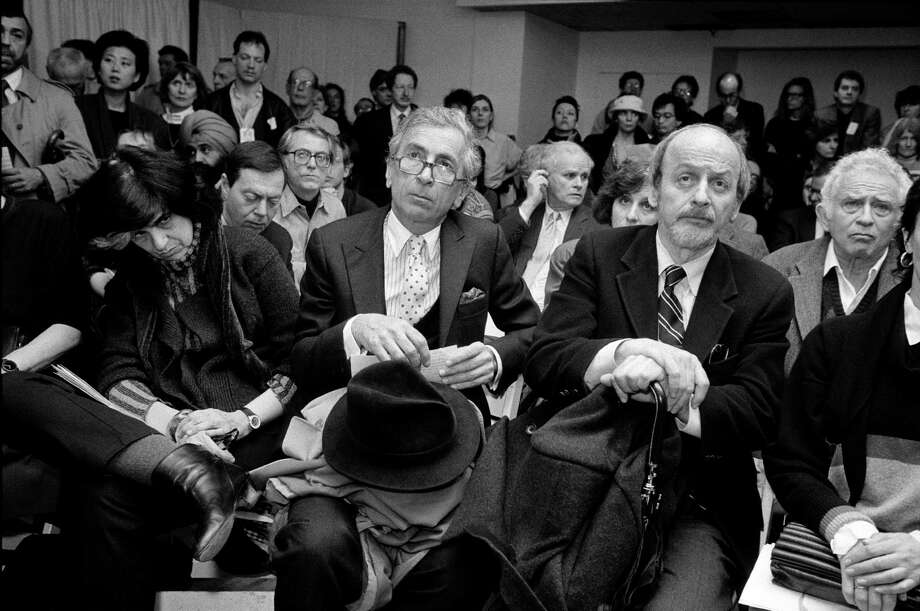 FILE — From left: The writers Susan Sontag, Gay Talese, E.L. Doctorow and Norman Mailer, who took part in the PEN American Center program in support of Salman Rushdie, in New York, Feb. 22, 1989.  Doctorow, whose critically admired and award-winning novels situated fictional characters in recognizable historical contexts, died July 21, 2015. He was 84. (Sara Krulwich/The New York Times) ORG XMIT: XNYT160 Photo: SARA KRULWICH / NYTNS
