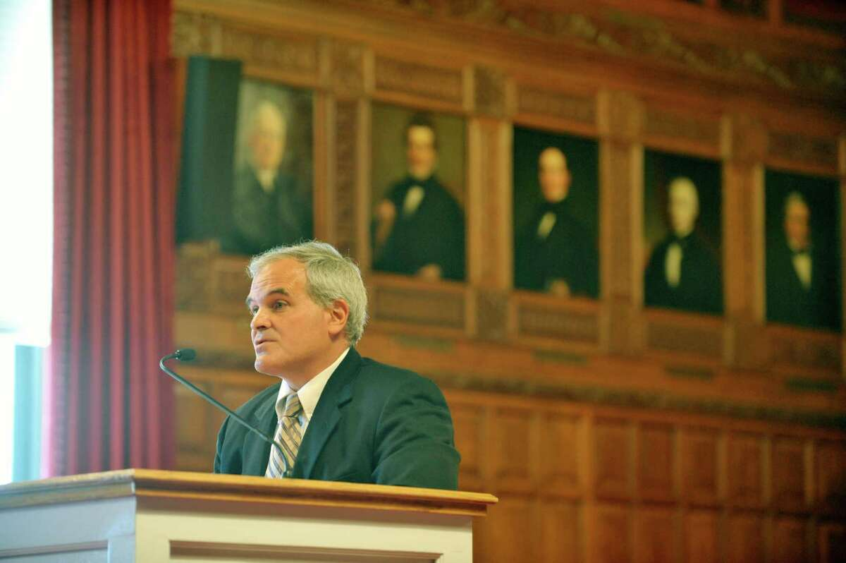 Timothy O'Sullivan with Lawyers Fund for Client Protection, testifies during a public hearing of the Commission on Statewide Attorney Discipline, held at the New York State Court of Appeals on Tuesday, July 28, 2015, in Albany, N.Y. (Paul Buckowski / Times Union)
