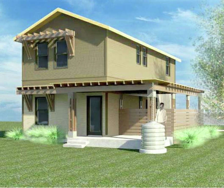 A rendering of one of the single-family homes to be built on a lot at Burleson and Olive streets by Terramark Urban Homes of Houston. Photo: Terramark Urban Homes / Courtesy Illustration