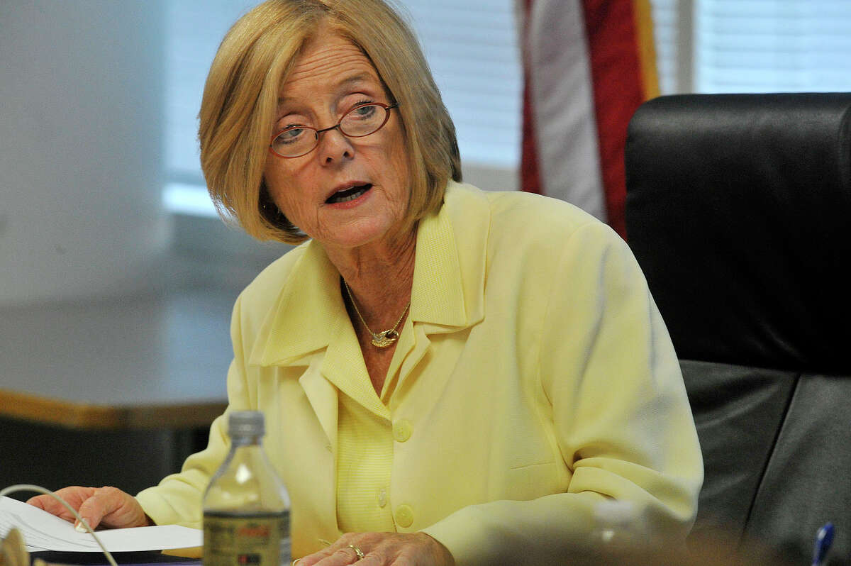 Superintendent Winifred Hamilton speaks during the Board of Education meeting at the Stamford Government Center in Stamford, Conn., on Tuesday, July 29, 2015.