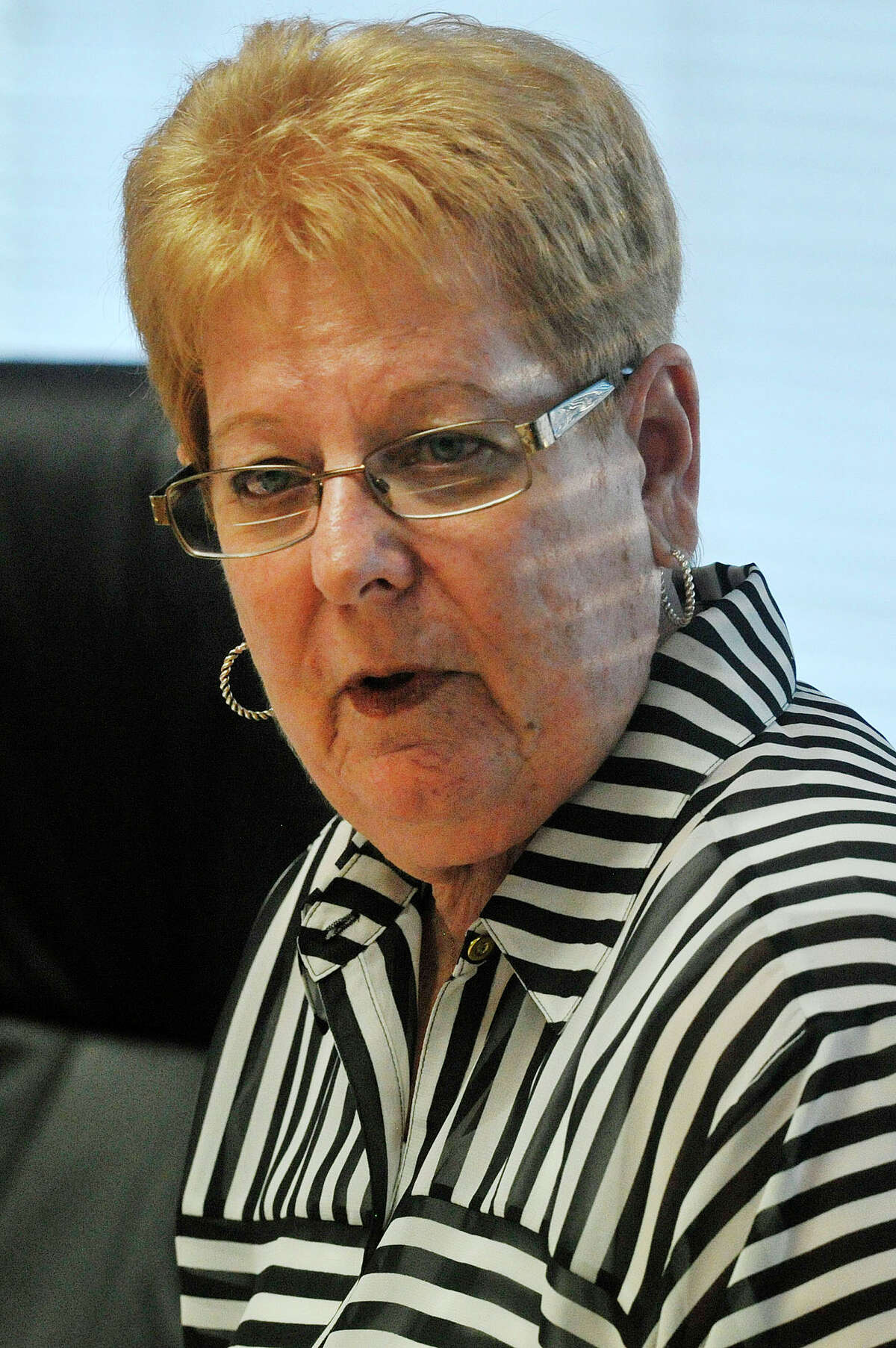 Board President Jackie Heftman speaks during the Board of Education meeting at the Stamford Government Center in Stamford, Conn., on Tuesday, July 29, 2015.