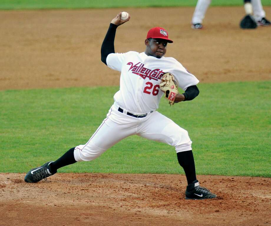 Tri-City ValleyCats Rogelio Armenteros pitches against the West Virginia Black Bears during their baseball game in Troy, N.Y., Tuesday, July 28, 2015. (Hans Pennink / Special to the Times Union) ORG XMIT: HP101 Photo: Hans Pennink / 00032715A