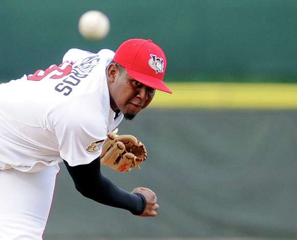 Tri-City ValleyCats Rogelio Armenteros pitches against the West Virginia Black Bears during their baseball game in Troy, N.Y., Tuesday, July 28, 2015. (Hans Pennink / Special to the Times Union) ORG XMIT: HP102 Photo: Hans Pennink / 00032715A
