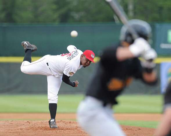 Tri-City ValleyCats Rogelio Armenteros pitches against the West Virginia Black Bears during their baseball game in Troy, N.Y., Tuesday, July 28, 2015. (Hans Pennink / Special to the Times Union) ORG XMIT: HP103 Photo: Hans Pennink / 00032715A