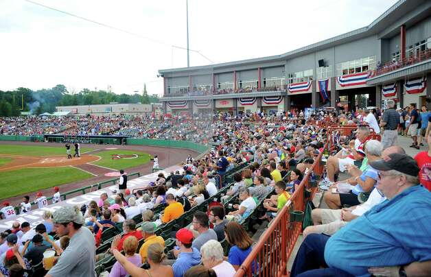 Fans watch the West Virginia Black Bears play the Tri-City ValleyCats during their baseball game in Troy, N.Y., Tuesday, July 28, 2015. (Hans Pennink / Special to the Times Union) ORG XMIT: HP105 Photo: Hans Pennink / 00032715A