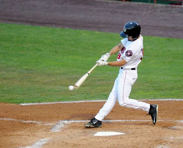 Tri-City ValleyCats Aaron Mizell bats against the West Virginia Black Bears during their baseball game in Troy, N.Y., Tuesday, July 28, 2015. (Hans Pennink / Special to the Times Union) ORG XMIT: HP106 Photo: Hans Pennink / 00032715A