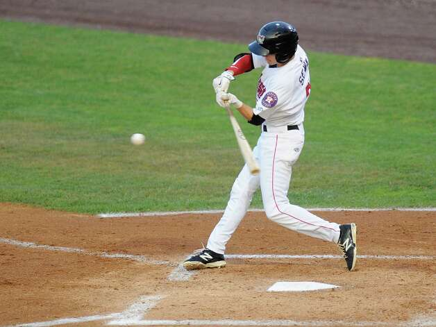 Tri-City ValleyCats  Johny Sewald bats against the theWest Virginia Black Bears during their baseball game in Troy, N.Y., Tuesday, July 28, 2015. (Hans Pennink / Special to the Times Union) ORG XMIT: HP109 Photo: Hans Pennink / 00032715A