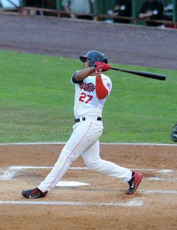Tri-City ValleyCats Dexture McCall watches his hit against the West Virginia Black Bears during their baseball game in Troy, N.Y., Tuesday, July 28, 2015. (Hans Pennink / Special to the Times Union) ORG XMIT: HP110 Photo: Hans Pennink / 00032715A