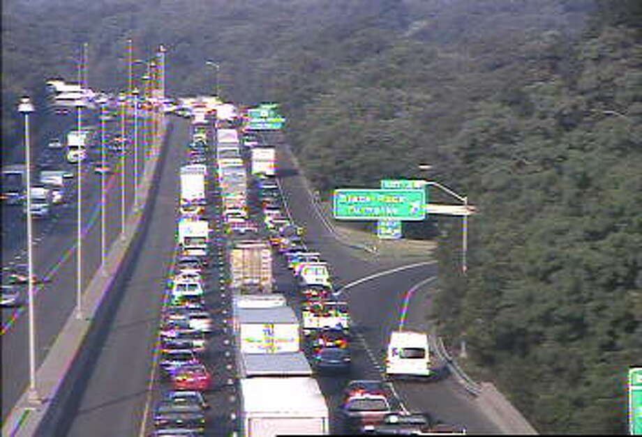 Traffic is backed up on southbound I-95 after a crash near Exit 24 in Fairfield. The accident happened before 7 a.m. on Wednesday, July 29, 2015.