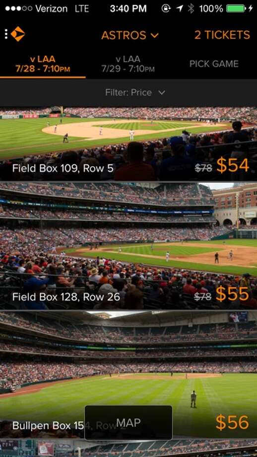 On the Gametime app, which came to Houston last Spring, fans can find discounted tickets as a game approaches.