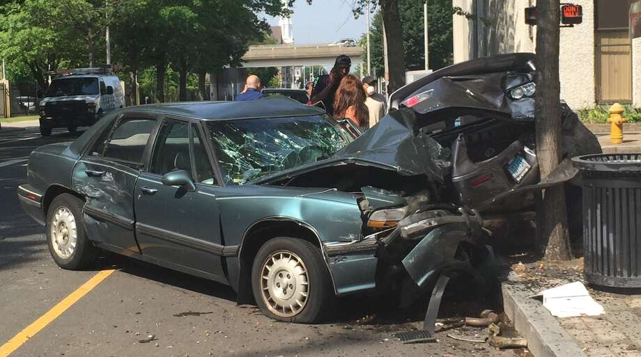 Serious crash closes State Street in Bridgeport, Conn., July 29, 2015.  Photo: By Mike DeSalvo