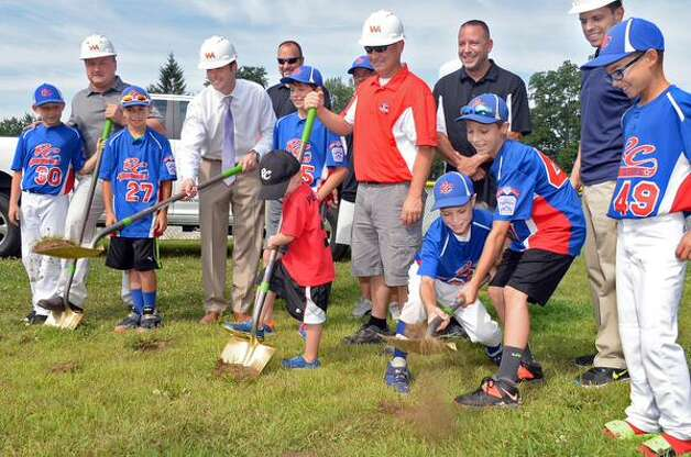 Ground was broken Wednesday, July 29, 2015,  at the Rotterdam and Carman Little League's Leonard C. White fields. (John Carl D'Annibale/Times Union)