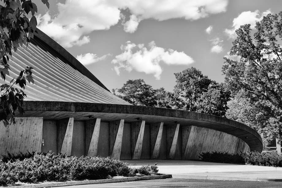 "Photography highlighting sites in New Haven will be the topic in artist Jim Duffy's exhibit, ""256 Shades of Gray"", for the month of August at the Stratford Library. This is his photo of the Ingalls Hockey Arena in New Haven. Photo: Contributed Photo / Stratford Library / Connecticut Post"