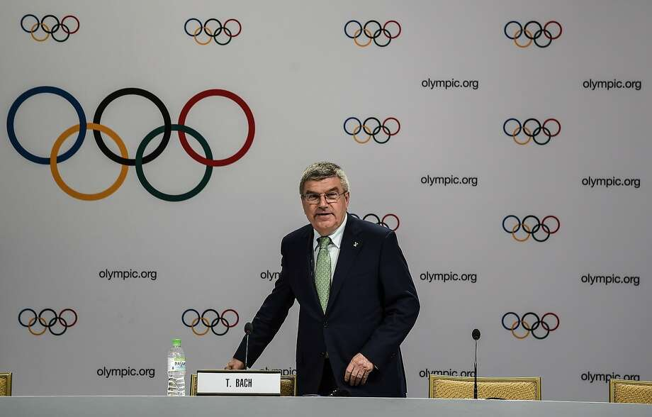 International Olympic Committee President Thomas Bach arrives for a press briefing in Kuala Lumpur. Photo: Manan Vatsyayana, AFP / Getty Images