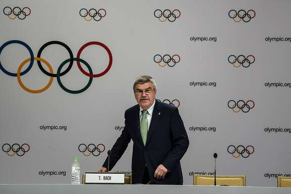 """International Olympic Committee (IOC) president Thomas Bach arrives for a press briefing in Kuala Lumpur on July 29, 2015. The United States has pledged to find a new candidate city for the 2024 Olympics after Boston failed to """"deliver"""" on promises, IOC chief Thomas Bach said July 29.   AFP PHOTO/ MANAN VATSYAYANAMANAN VATSYAYANA/AFP/Getty Images"""