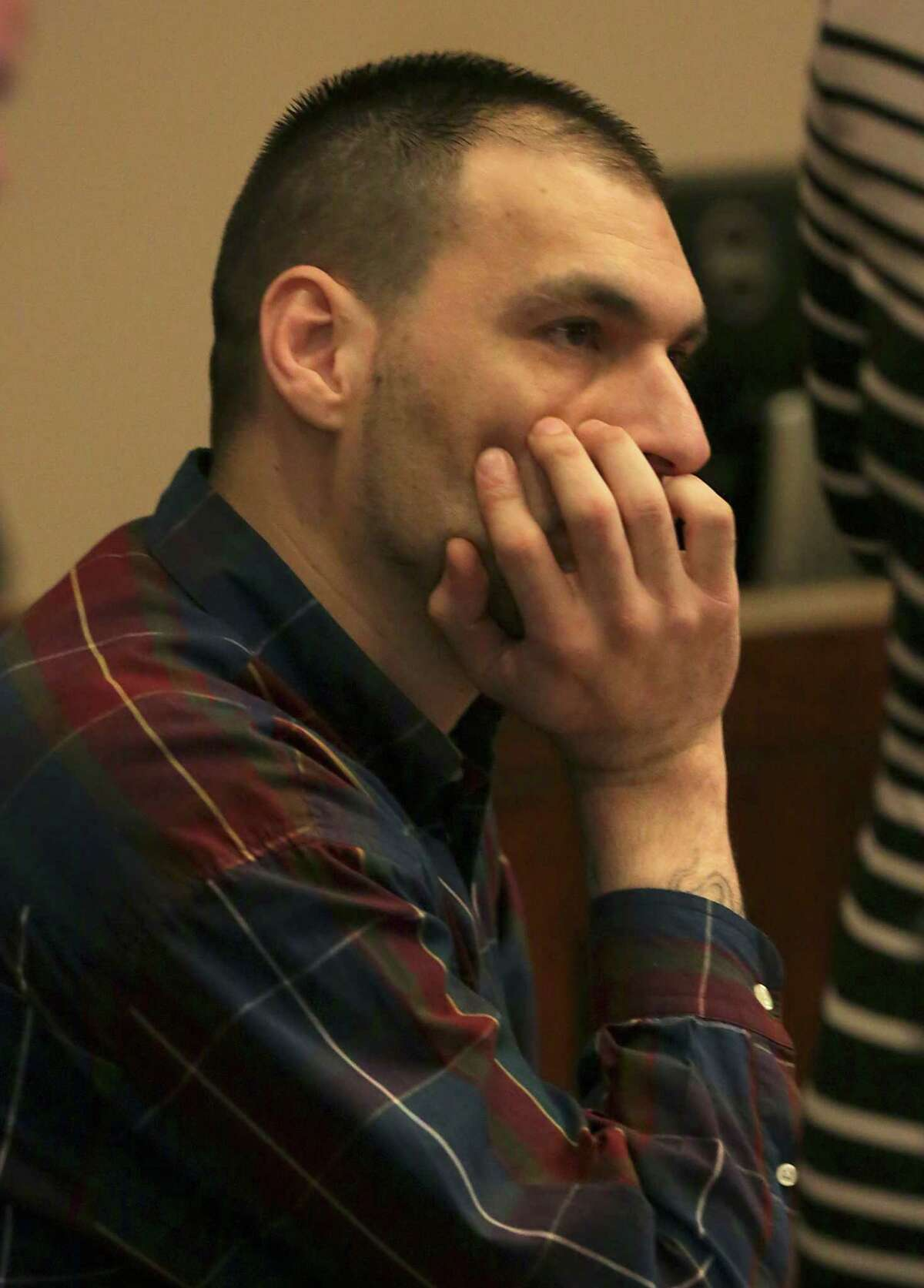 Jose Gonzalez, convicted in the murder of his roommate Ahn Cisneros, sits in the 144th State District Court in the Cadena-Reeves Justice Center on Wednesday, July 29, 2015.