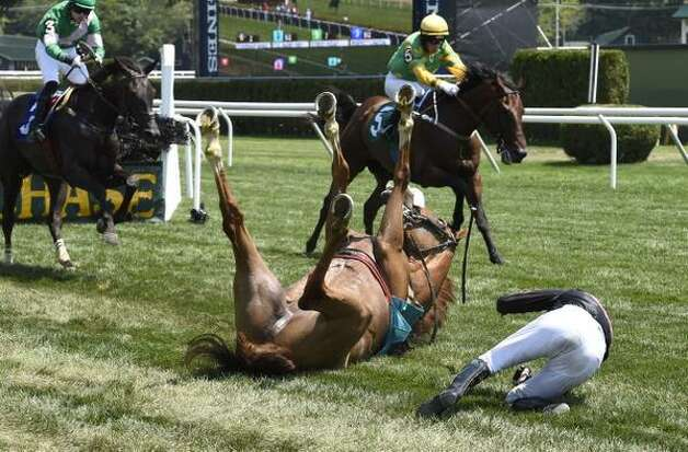 Cul Baire dumps jockey Paddy Young after the final jump at Wednesday's steeplechase race at Saratoga Race Course. Neither the horse nor the jockey were injured. (Skip Dickstein / Times Union)