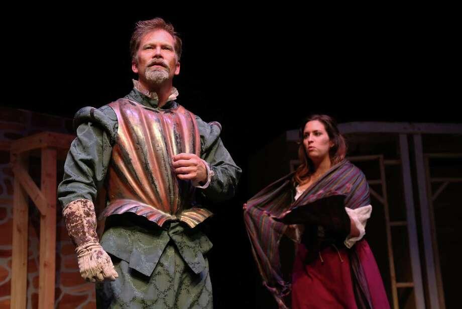 "Alex Stutler stars as Cervantes/Quixote with Katie Fridsma as Aldonza/Dulcinea in Queensbury Theatre's production of ""Man of La Mancha."" Photo: Jon Shapley, Staff / © 2015 Houston Chronicle"