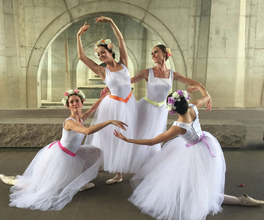 "Katelyn Somers, left, Lauren Treat, Melissa Weber, and Nasiyat Begalieva appear in a scene from ""Pas de Quatre,"" by Anton Dolin. It's among the pieces that will be performed at Ives Concert Park in Danbury on Friday, July 31, as part of Connecticut Ballet's Summer Dance Caravan program. Photo: Contributed Photo"