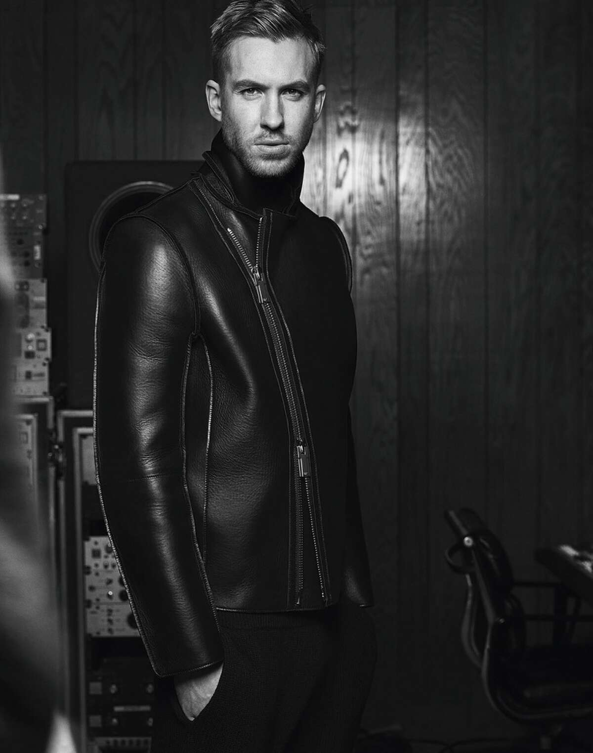 Calvin Harris models an Emporio Armani leather look. Harris, 31, and his girlfriend, Taylor Swift, are Forbes magazine's 2015 highest paid couple, taking in jointly $146 million. Harris is Emporio Armani's model for its fall 2015/16 campaign.