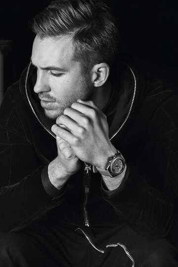 Calvin Harris models an Emporio Armani leather look ...