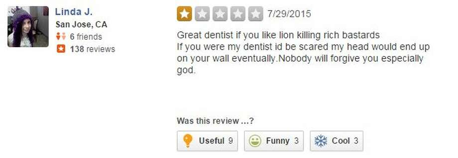 """Great dentist if you like lion killing rich bastards If you were my dentist id be scared my head wouldn't eventually end up on your wall too."" Photo: Medina, Mariah, Yelp"